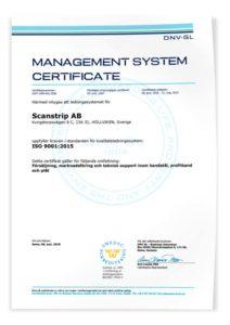 Management system certificate Scanstrip